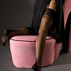 Point heel fully fashioned stockings - CONTRAST METALLIC SEAM - SECONDS