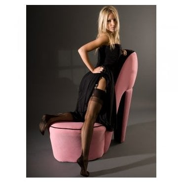 Eleganti Point heel fully fashioned stockings - CONTRAST METALLIC SEAM - SECONDS