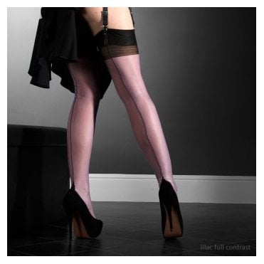 Eleganti Point heel fully fashioned stockings - FULL CONTRAST - SECONDS