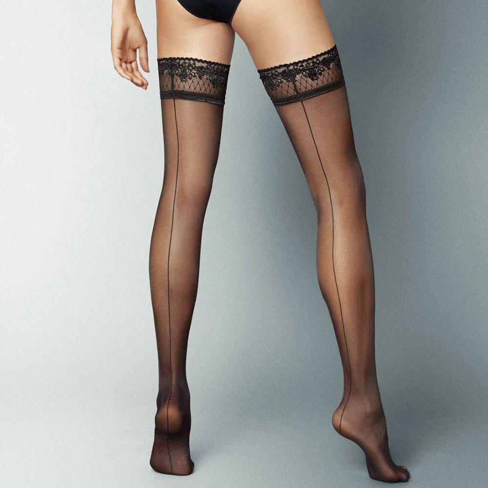 Veneziana Riga Dietro seamed lace top hold-ups
