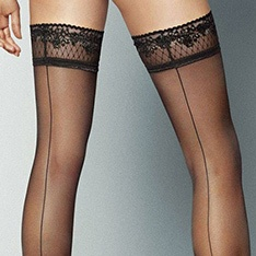 Riga Dietro seamed lace top hold-ups