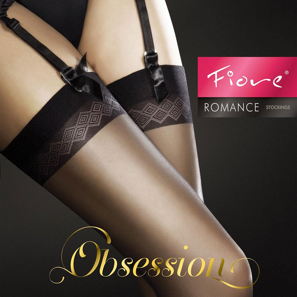 Fiore Romance 20 denier matt stockings with detailed top bands
