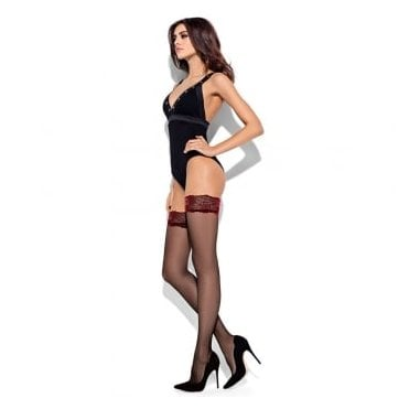 Mona Romantic contrast lace top hold-ups
