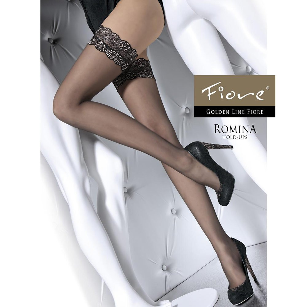 Fiore Romina black and gold lace top hold-ups