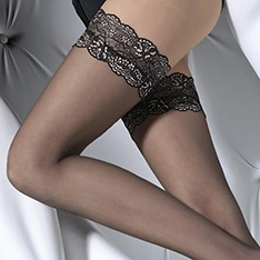 Romina black and gold lace top hold-ups