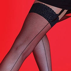 Scarlet Fishnet Backseam stockings