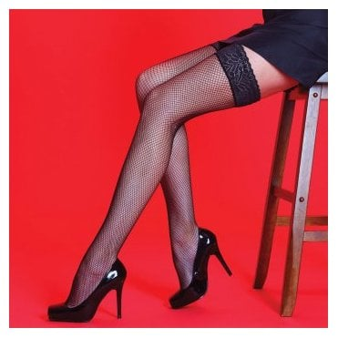 Silky Scarlet fishnet hold-ups with a lace top