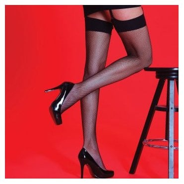 Silky Scarlet fishnet stockings with plain band