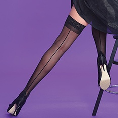 Scarlet Seamer backseam lace top hold-ups
