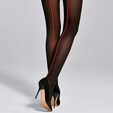 Single opaque microfibre red backseam tights