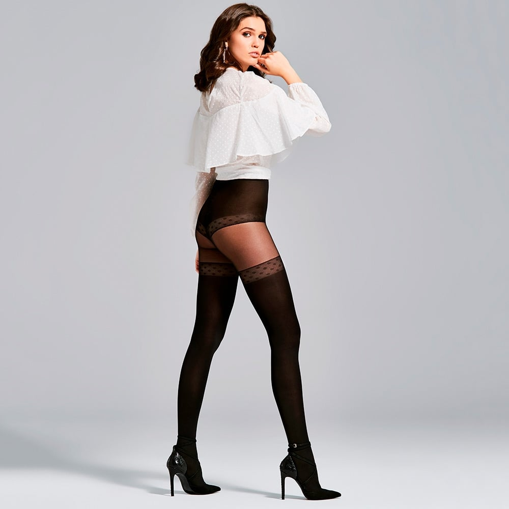 Fiore Soleil opaque microfibre faux hold-up tights
