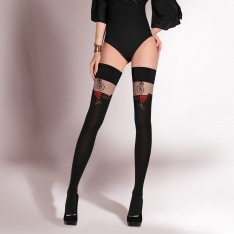 Gabriella SPECIAL OFFER - Rosa contrast rose hold-ups