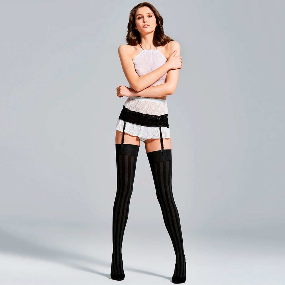 Fiore Traffic striped melange opaque stockings