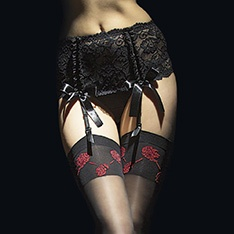 Vesuvio deep lace four strap suspender belt